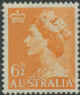 AUS SG263a 6½d Queen Elizabeth II orange definitive with wmk